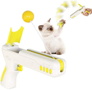 Interactive Cat Toy Gun with 1 Funny Cat Ball and 1 Funny Cat Feather