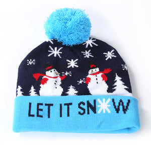 Christmas LED Knitted Hat with Colorful Lights for Adults and Children