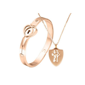 Luxury Shield & Square Heart Lock Bracelet & Key Necklace