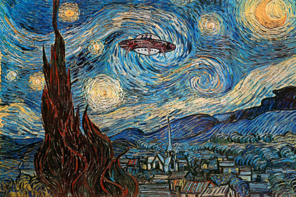 UFO Sighting on Starry Night