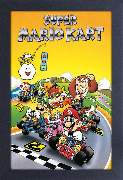 Super Mario Kart Video Game Framed Gelcoat