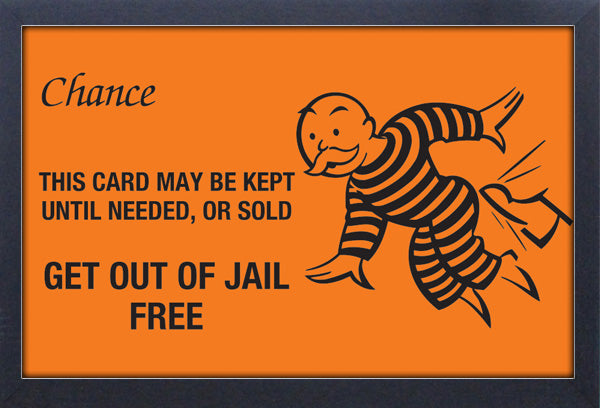 Monopoly Get Out of Jail Free Framed Gelcoat
