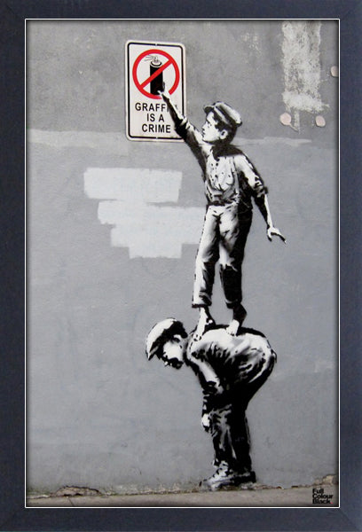 Banksy Graffiti is a Crime Framed Gelcoat
