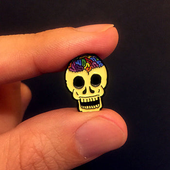 Rainbow Brainskull Pin