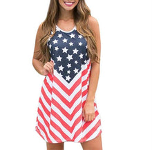 Load image into Gallery viewer, Women American flag 4th of July dress