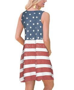 Women independence day 4th of July flag printed dress