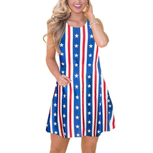 Load image into Gallery viewer, Women independence day 4th of July flag printed dress