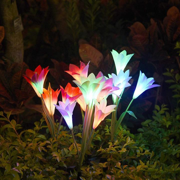 Spring Artificial Lily Solar Garden Stake Lights - 1 Pack of 4 Lilies