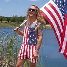 Load image into Gallery viewer, American Flag Overalls Shorts Super Fashion
