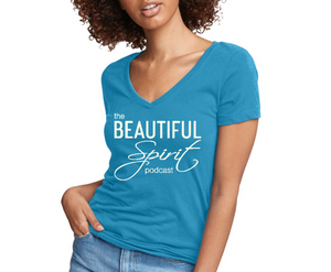 The Beautiful Spirit Podcast logo V neck Jersey t shirt for women
