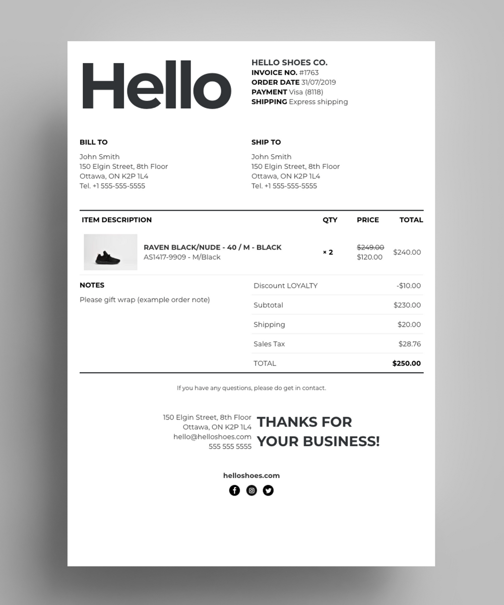 Custom Documents For Shopify S Order Printer App Made