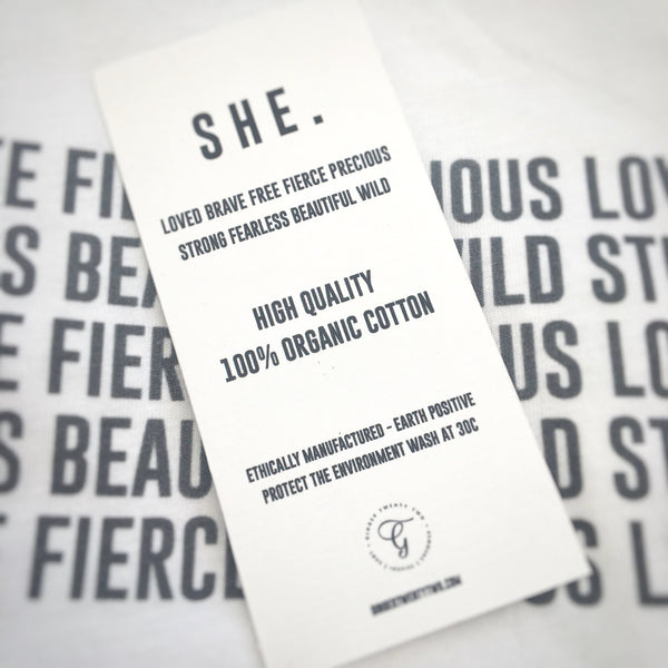 She T-Shirt Label