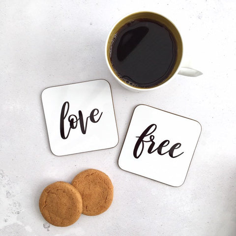 Love and Free coasters set by Ginger Twenty Two