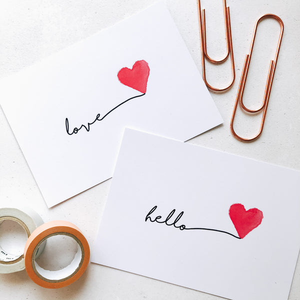 Love post card and hello postcard by Ginger Twenty Two