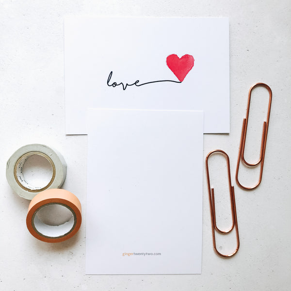 Love postcard and hello postcard by Ginger Twenty Two