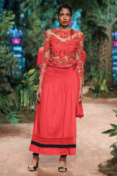 Fiery Red Embroidered Top & pleated skirt