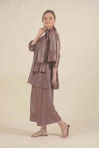 Plum Silver shaded kurta set