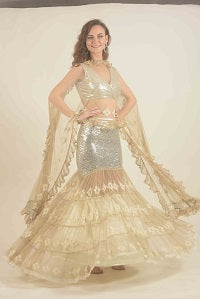 Silver Sequined Lehenga with tiered lace