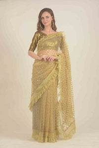 Gold net saree