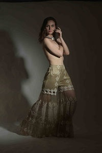 Gold Sharara with lace work