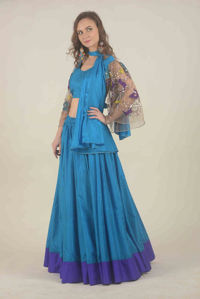 Blue colorblock khadi silk lehenga