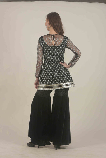 Zari Sharara Set - Black
