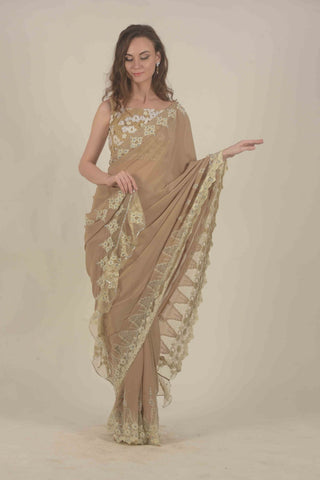 Taupe Saree with lace detailing