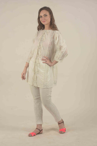 White woven cotton kurta set