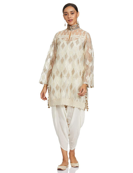 Off White Embroidered Dhoti Kurta