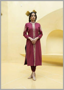 Stretch Lyca Gold Zardosi Work With Pant And Jacket Set