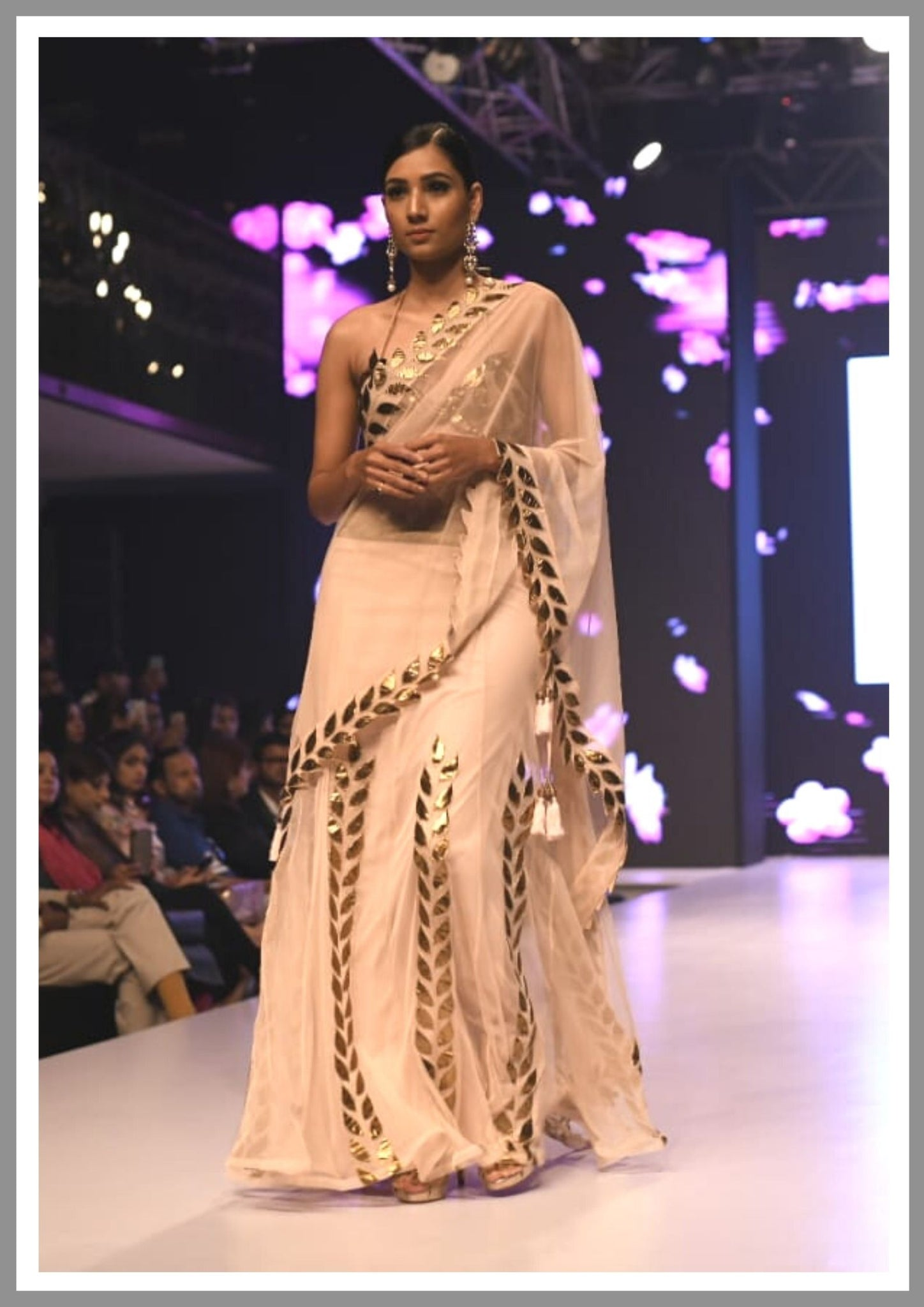 Nude gold ghota patti skirt saree