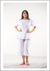 Poplin cotton peplum Top With Loose Fit Pants