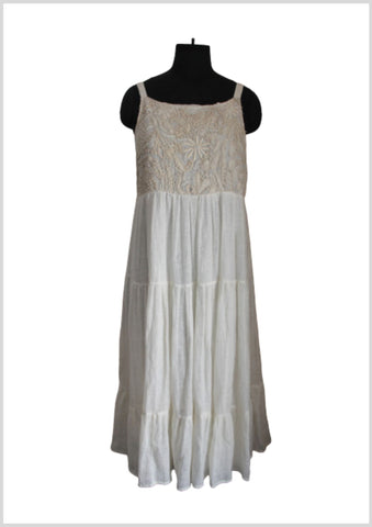 Tiered hand emb ,linen ivorydress