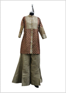 Front Open   brocade Kurti With brocade palazzos