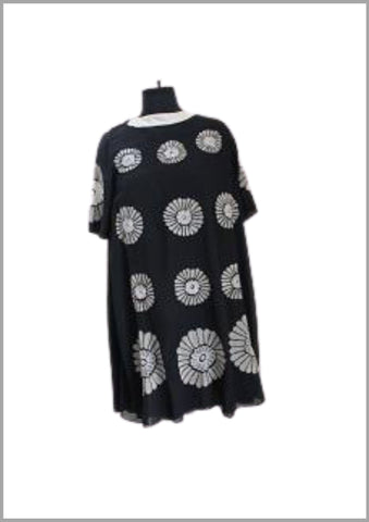 Black tunic with floral patchwork embroidery