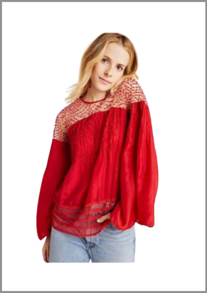 Red Cotton Silk Top