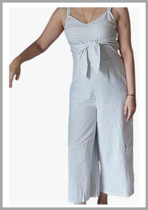 White&Blue striped jumpsuit