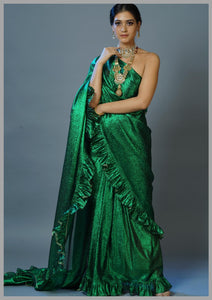Green Lurex Zari Linen Metallic Saree Ruffles With Vintage Gold Ghota