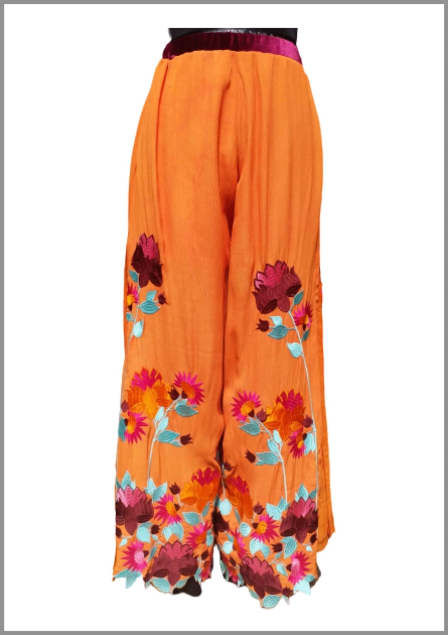 orange Floral embroidered palazzo