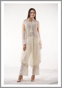 White Sheer anglais with inset lace Kurta With Palazzo