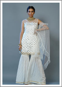 Ivory Muqaish Kurta With Sharara & Ruffle Dupatta