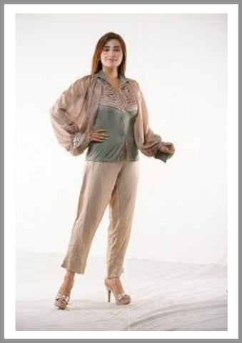 Tunic Top Silk With Ballon Sleeves