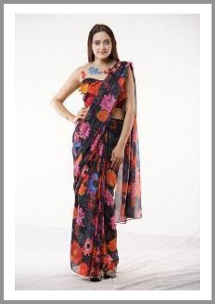 Floral Print Georgette  pre stitched Saree With Blouse