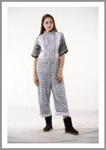 Printed Black And White Jump Suit