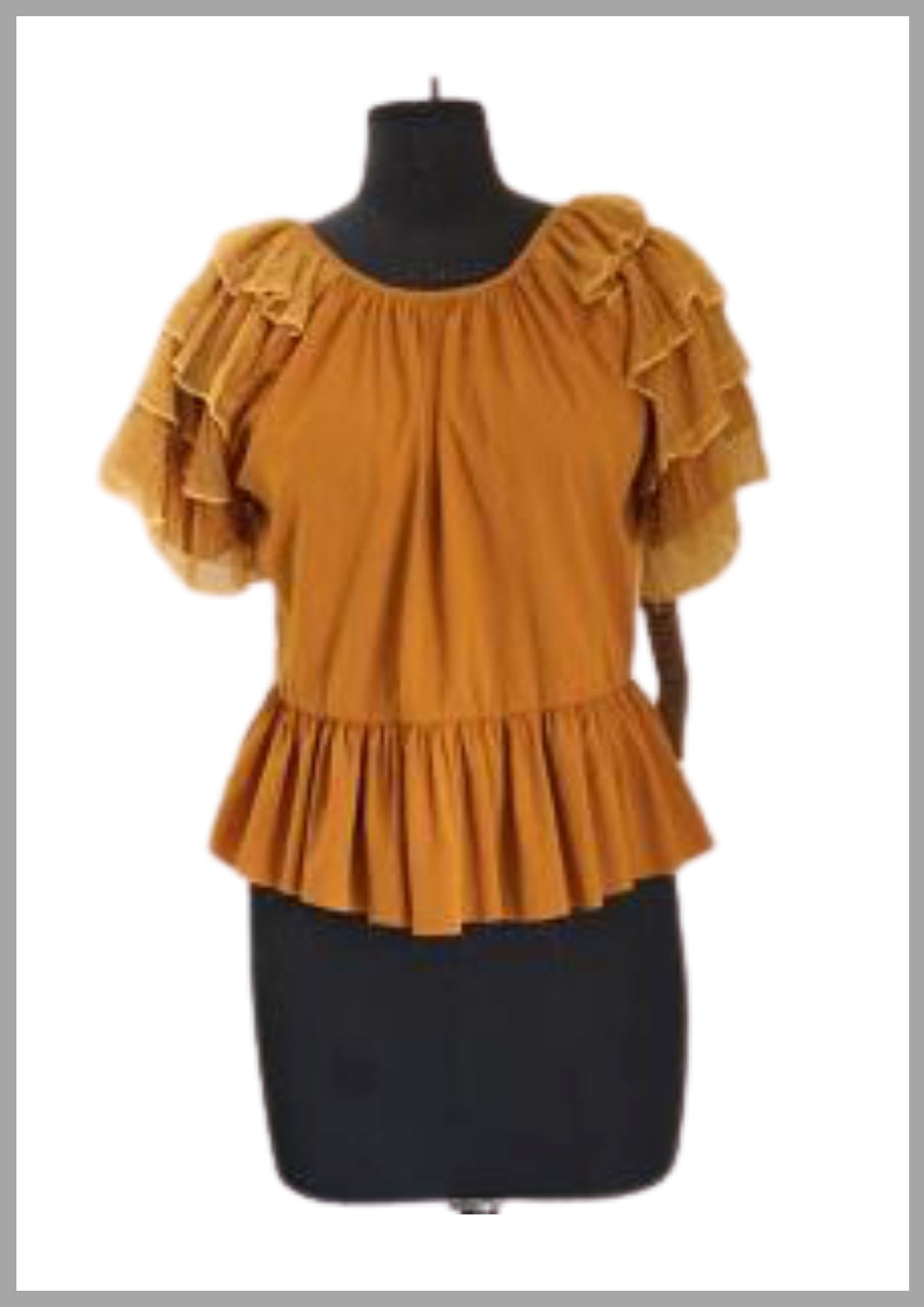 Yellow shaded ruffled top