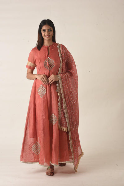 Redbrick rust kota anarkali gown like kurta set ,mirror emb all over