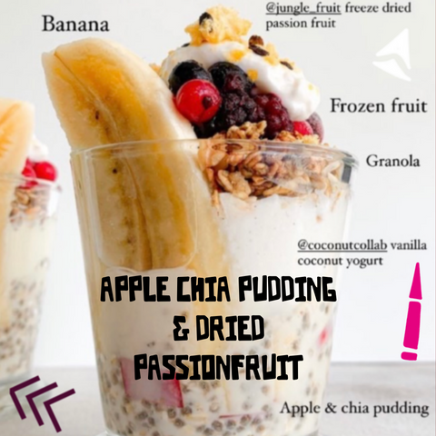 APPLE CHIA PUDDING AND DRIED PASSION FRUIT
