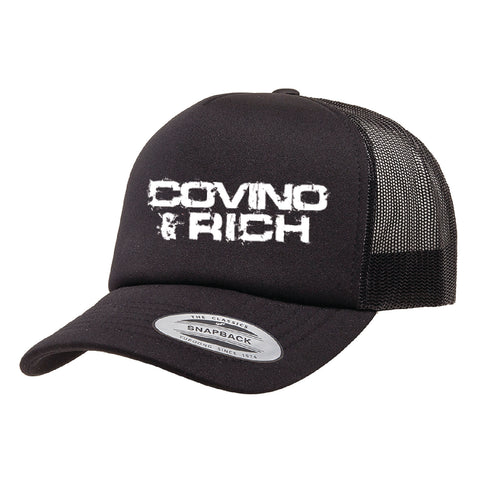 Black Foam Dome Trucker With White imprint