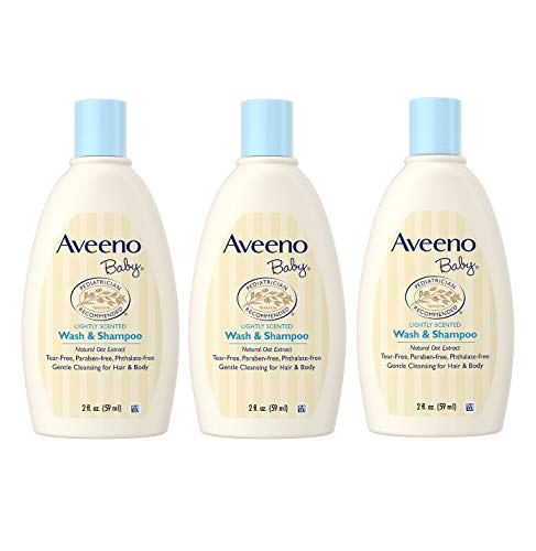 Aveeno Baby Wash & Shampoo, Tear Free, Travel Size 2 Oz (59ml) - Pack of 3