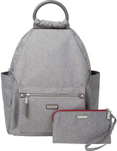 "Load image into Gallery viewer, Baggallini New Classic""Heritage"" All Day Backpack with RFID Phone Wristlet Stone One Size"